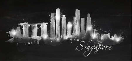 Silhouette Singapore city painted with splashes of chalk drops streaks landmarks drawing with chalk on blackboard