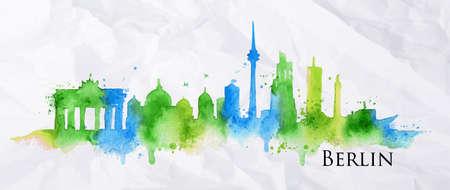 Het silhouet van de stad Berlijn beschilderd met spatten van aquarel druppels strepen oriëntatiepunten in blauwe en groene tinten