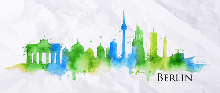 Silueta de Berlín ciudad pintada con salpicaduras de gotas de acuarela rayas hitos en tonos azules y verdes Vectores