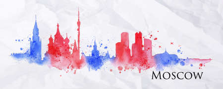 moscow city: Silhouette Moscow city painted with splashes of watercolor drops streaks landmarks in red with blue tones Illustration