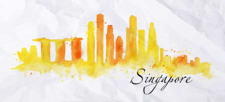 Silhouette Singapore city painted with splashes of watercolor drops streaks landmarks in orange with yellow tones