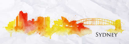 sydney: Silhouette Sydney city painted with splashes of watercolor drops streaks landmarks in blue with yellow tones