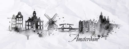 ink drops: Silhouette ink Amsterdam city painted with splashes of ink drops streaks landmarks drawing in black ink on crumpled paper. Illustration