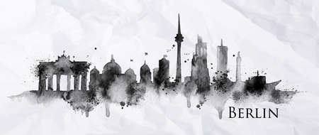 Silhouette ink Berlin city painted with splashes of ink drops streaks landmarks drawing in black ink on crumpled paper.