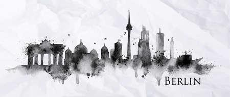 Silhouet inkt Berlijn beschilderd met spatten van de inktdruppels strepen oriëntatiepunten tekening in zwarte inkt op papier verfrommeld.