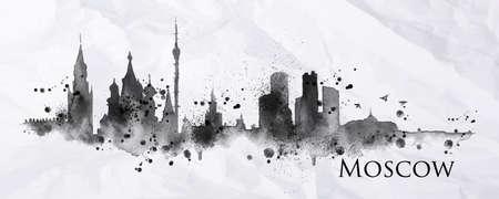 シルエット インクで描かれた都市モスクワのインクの飛散は、縞ランドマークしわくちゃの紙に黒インクで描画を削除します。