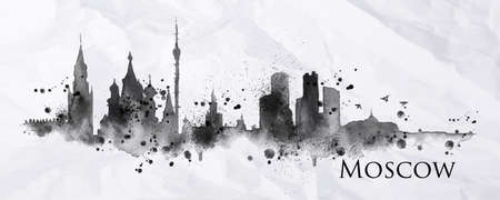 Silhouette ink Moscow city painted with splashes of ink drops streaks landmarks drawing in black ink on crumpled paper.