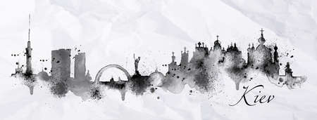 Silhouette ink Kiev city painted with splashes of ink drops streaks landmarks drawing in black ink on crumpled paper.