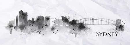 Silhouet inkt Sydney stad beschilderd met spatten van inktdruppels strepen oriëntatiepunten tekening in zwarte inkt op verfrommeld papier. Stock Illustratie