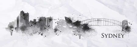 Silhouette ink Sydney city painted with splashes of ink drops streaks landmarks drawing in black ink on crumpled paper.