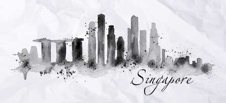 Silhouette ink Singapore city painted with splashes of ink drops streaks landmarks drawing in black ink on crumpled paper.