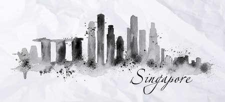 ville encre Silhouette Singapour peint avec des touches de gouttes d'encre stries de points de repères à l'encre noire sur du papier froissé.