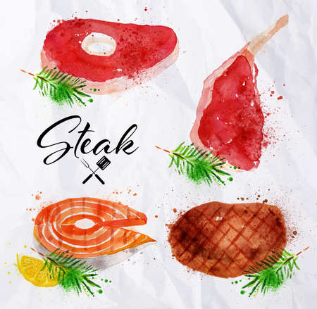 pork meat: Set steak of watercolor hand-drawing blots and stains with a spray paint  on crumpled paper steak, fish steak, big steak.