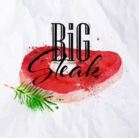 steak beef: Big steak watercolor hand-drawing blots and stains with a spray paint  on crumpled paper.