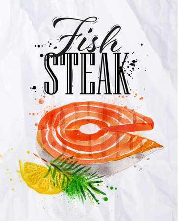 Fish steak watercolor hand-drawing blots and stains with a spray paint  on crumpled paper.