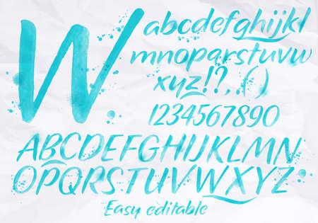 モダンなアルファベットは、描かれた水彩画しみとスプレーの青い色で汚れを設定します。  イラスト・ベクター素材