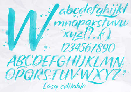 Modern alphabet set drawn watercolor blots and stains with a spray blue color.