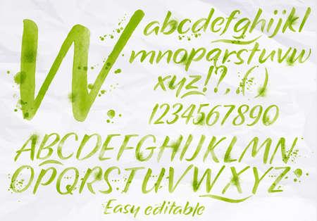 tipos de letras: Conjunto alfabeto moderno dibuja manchas de acuarela y las manchas con un color azul aerosol. Vectores