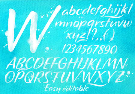Modern alphabet set drawn watercolor blots and stains on a blue background. Vector