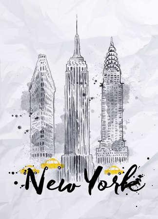 Buruşuk kağıt üzerinde damla ve sıçraması ile vintage stili çizim Suluboya New York gökdelenler Empire State Binası Chrysler Binası