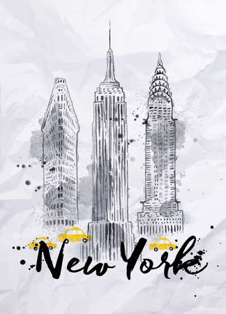 cab: Rascacielos de la acuarela de Nueva York Empire State Building Chrysler Building de dibujo estilo vintage con gotas y salpicaduras en el papel arrugado Vectores