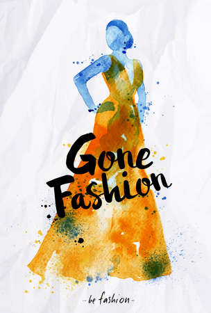 gone: Watercolor fashion poster lettering gone fashion drawing in vintage style on crumpled paper.