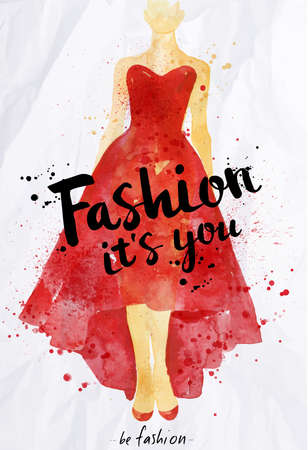 its a girl: Watercolor poster lettering fashion its you drawing in vintage style on crumpled paper. Illustration