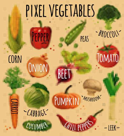 chili: Pixel vegetables corn, pepper, peas, broccoli, onion, beet, mushrooms, tomato, pumpkin, cabbage, cucumber, carrot, chili pepper, leek drawing in pixel style on  kraft