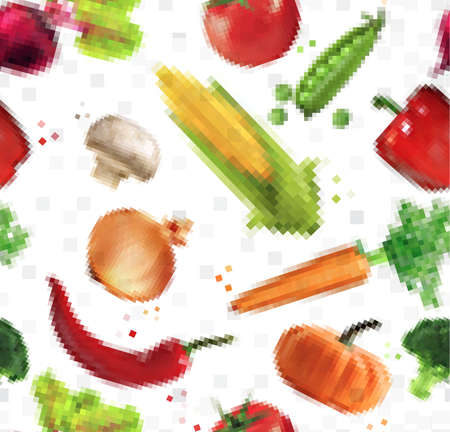 leek: Pattern pixel vegetables corn, pepper, peas, broccoli, onion, beet, mushrooms, tomato, pumpkin, cabbage, cucumber, carrot, chili pepper, leek drawing on  white background