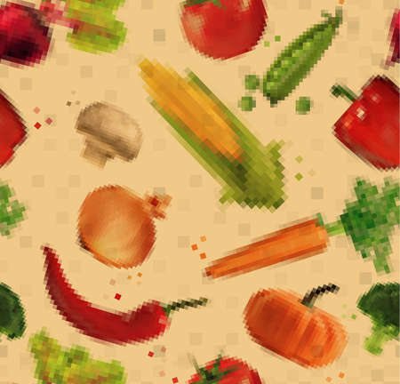 pumpkin tomato: Pattern pixel vegetables corn, pepper, peas, broccoli, onion, beet, mushrooms, tomato, pumpkin, cabbage, cucumber, carrot, chili pepper, leek drawing on  kraft Illustration