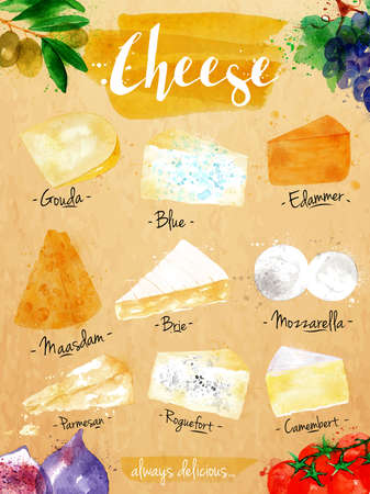 mozzarella cheese: Poster cheese watercolor gouda blue edammer maasdam brie mozzarella parmesan roquefort camembert lettering always delicious drawing in vintage style.