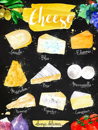 Poster cheese watercolor, gouda, blue, edammer, maasdam, brie, mozzarella, parmesan, roquefort, camembert lettering always delicious drawing in vintage style on black background.