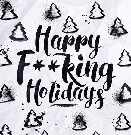 carta de amor: D�as de fiesta Angry saludo letras tarjeta de feliz f - Vacaciones rey de dibujo en el estilo vintage en el papel arrugado. Vectores