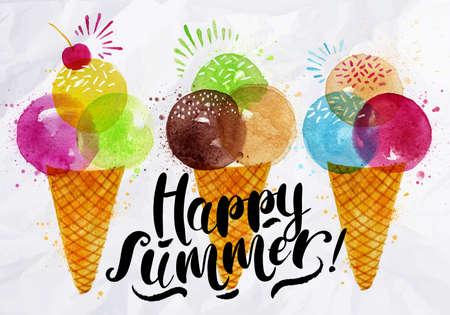 Poster aquarel ijshoorntjes verschillende kleuren belettering gelukkige zomer tekening op papier verfrommeld