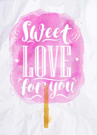 Letras dulces Cartel de la acuarela de algodón dulce amor por ti dibujo en color rosa en el papel arrugado