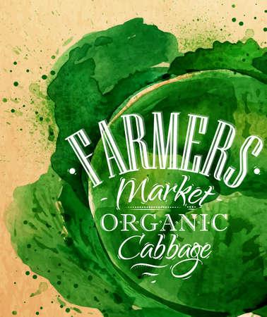 Плакат акварель капуста рынок надписи фермеры рисунок органический капусты крафт-бумаги