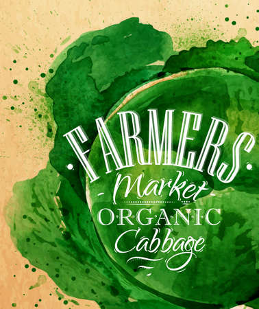 Cartel de la col acuarela mercado de los agricultores de letras dibujo col orgánica sobre papel kraft