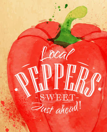 Poster watercolor pepper lettering local peppers sweet just ahead drawing on kraft paper Stock Illustratie