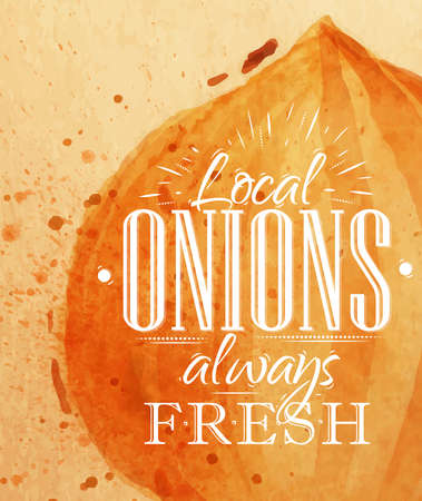 onion isolated: Poster watercolor onion lettering local onions always fresh drawing on kraft paper Illustration