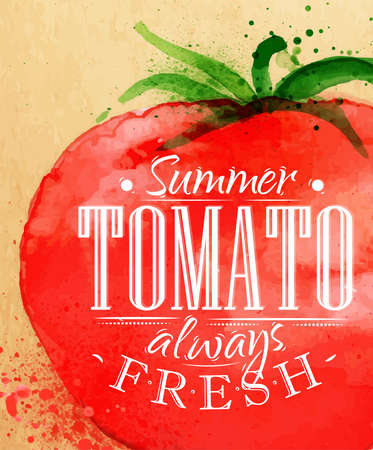 ensalada de tomate: Cartel de la acuarela de tomate letras tomate verano siempre dibujo fresco en papel kraft
