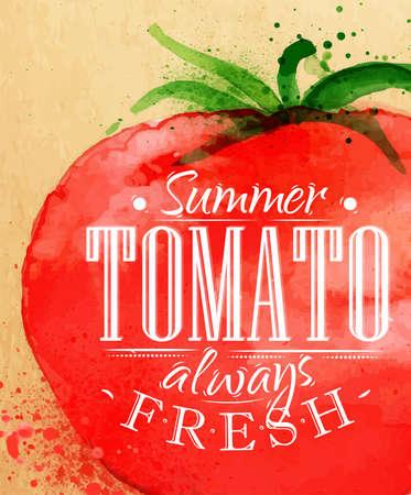 Poster Aquarell Tomaten Schriftzug Sommer Tomate immer frisch Zeichnung auf Kraftpapier Illustration