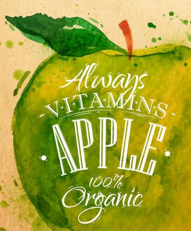 Poster watercolor apple lettering always vitamins apple 100 percent organic drawing on kraft