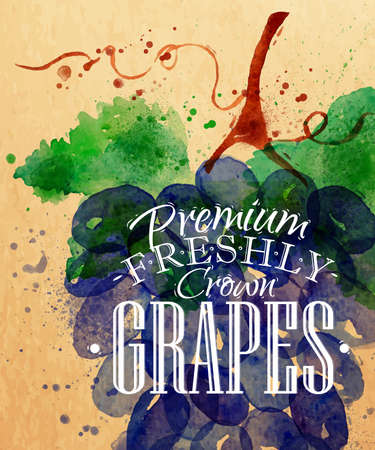 Poster watercolor grapes lettering premium freshly crown grapes drawing on kraft