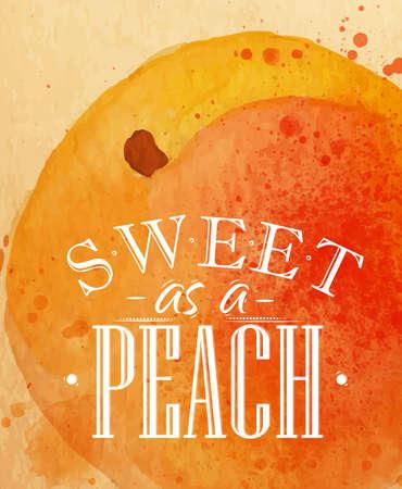 크래프트에 복숭아 그림 달콤한 포스터 수채화 복숭아 문자