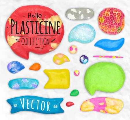 design elements: Set of vector plasticine design elements cobbled together on a white plasticine background Illustration