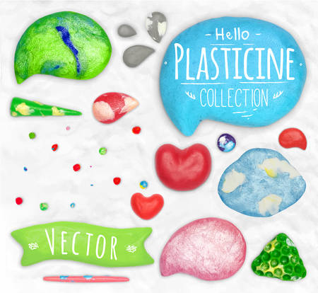 cobbled: Set of vector plasticine objects cobbled together on a white plasticine background Illustration