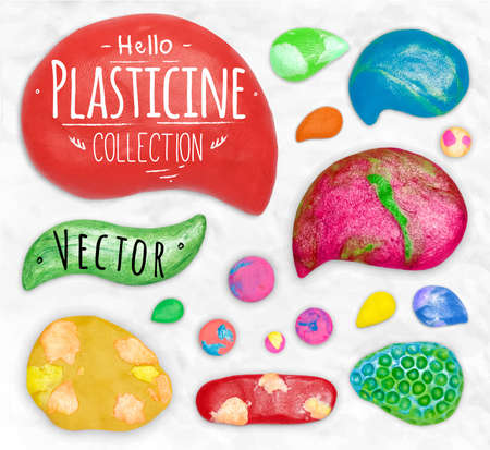 cobbled: Set of vector plasticine symbols cobbled together on a white plasticine background Illustration