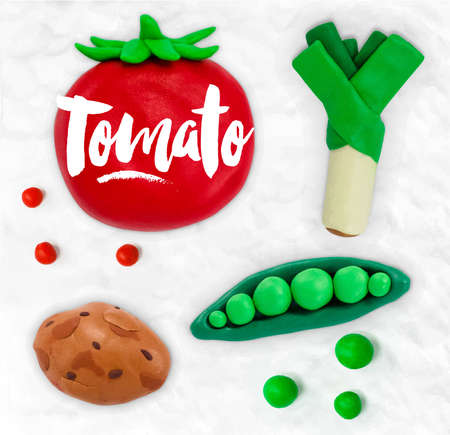 dough: Plasticine modeling vegetables tomato peas leek potato cobbled together on a white plasticine background