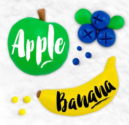 Plasticine modeling fruits apple banana blueberries cobbled together on a white plasticine background Illustration