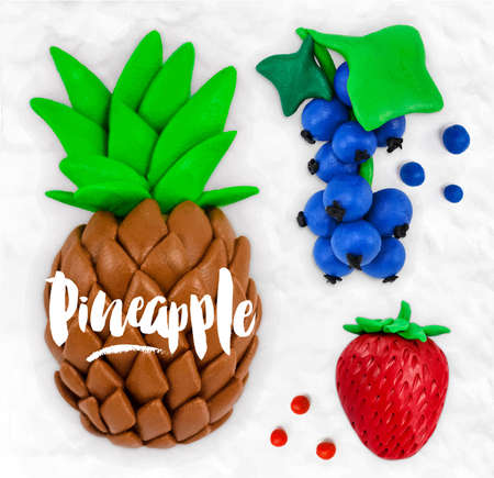 Plasticine modeling fruits pineapple currant strawberry cobbled together on a white plasticine background Illustration